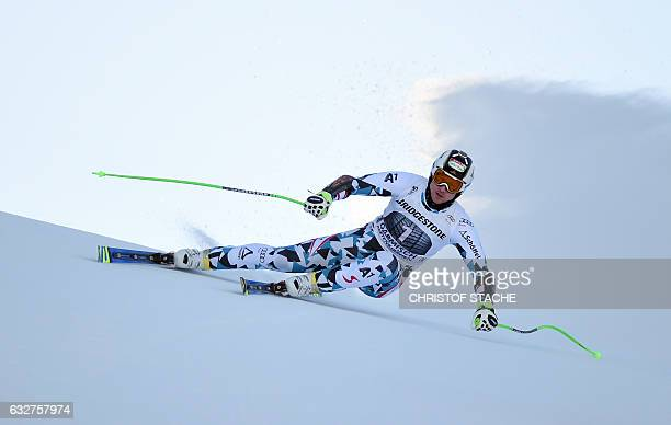 Austrian Hannes Reichelt races during the men downhill training at the FIS Alpine Skiing World Cup in GarmischPartenkirchen southern Germany on...