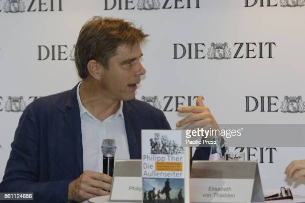FRANKFURT FRANKFURT HESSE GERMANY Austrian historian Philipp Ther gives an interview at the booth of the German national weekly newspaper Die Zeit at...