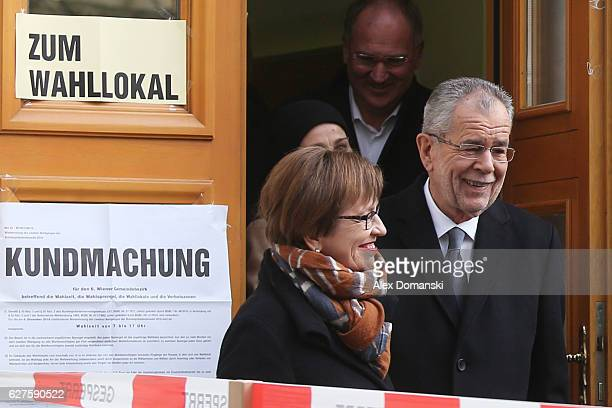 Austrian independent presidential candidate Alexander van der Bellen leaves with his wife Doris Schmidauer a polling station after casting his vote...