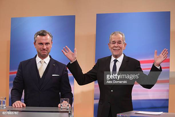 Austrian independent presidential candidate Alexander van der Bellen and rightwing populist candidate Norbert Hofer arrive for television interviews...