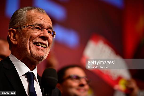 Austrian independent presidential candidate Alexander van der Bellen cheers to his supporters after winning in the Austrian presidential elections at...