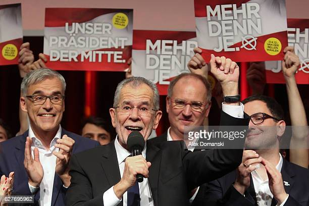 Austrian independent presidential candidate Alexander van der Bellen celebrates during the election party following Austrian presidential elections...