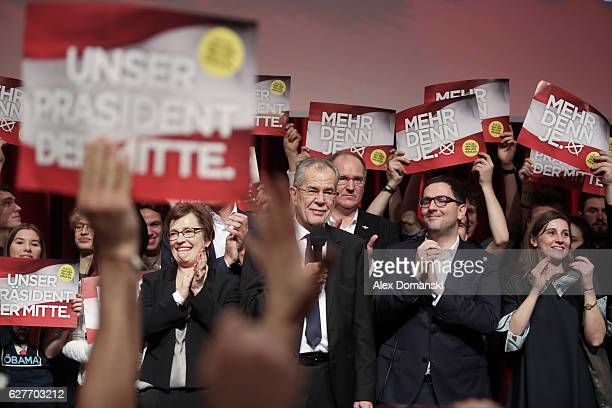 Austrian independent presidential candidate Alexander van der Bellen speaks during the election party following Austrian presidential elections on...