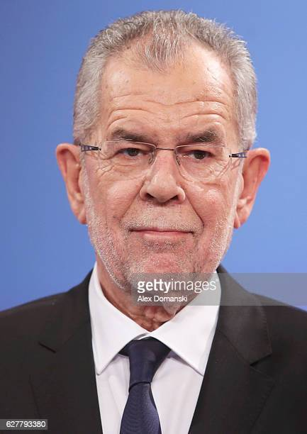 Austrian independent presidential candidate Alexander van der Bellen gives a television interview at the Hofburg following Austrian presidential...