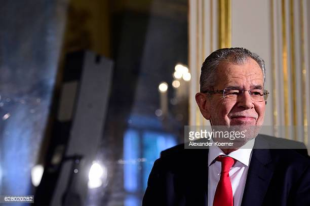 Austrian independent presidential candidate Alexander van der Bellen speaks to the media after the official statement by Minister of Interior...