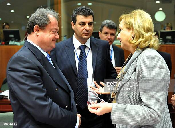Austrian Interior Minister Maria Fekter talks with Romania Minister of Administration and Interior Vasile Blaga prior to the Justice and Home Affairs...