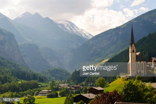 Austrian landscape and church in Heiligenblut
