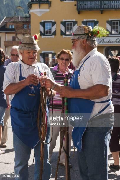 Austrian men in traditional farm dress
