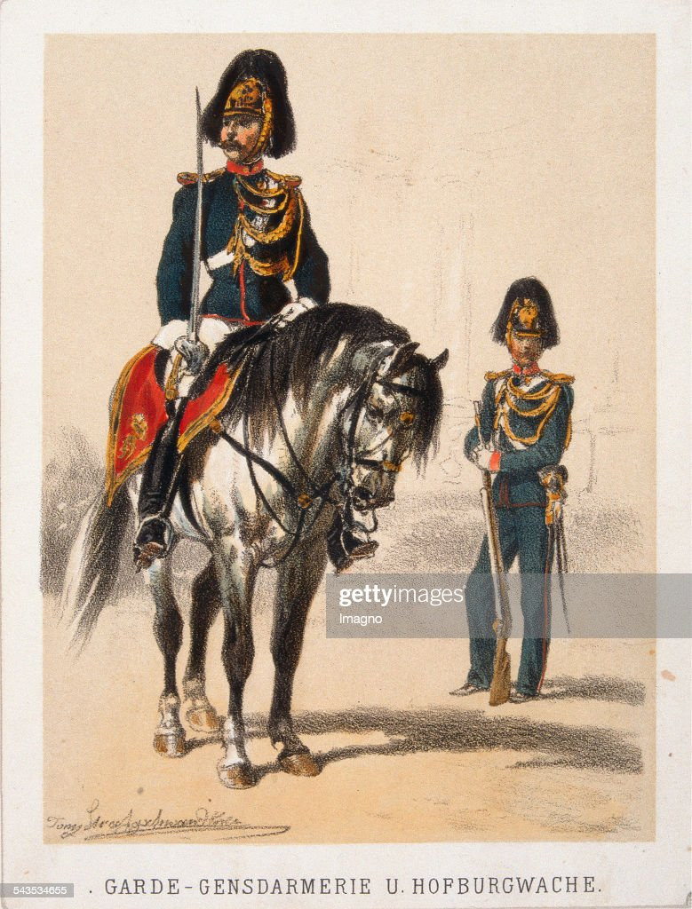 Austrian Military GardeGen[s]darmerie u Hofburgwache About 1870 Coloured lithograph from a military serie by Anton Straßgschwandtner
