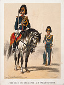Austrian Military GardeGen[s]darmerie u Hofburgwache About 1870 Coloured lithograph from a military serie by Anton Straßgschwandtner