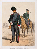 Austrian Military Gen[s]darm About 1870 Coloured lithograph from a military serie by Anton Straßgschwandtner