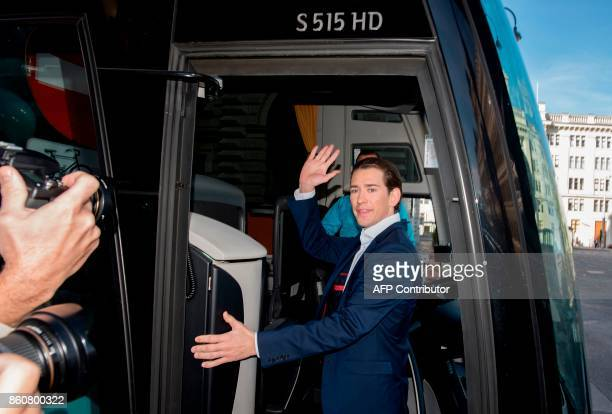 Austrian Minister for Foreign Affairs and the chairman of Austria's People's Party Sebastian Kurz gets on his bus as he is leaving for his 36 hours...