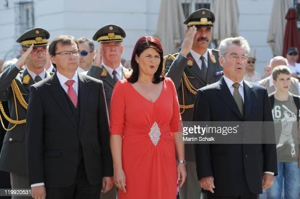Austrian Minister of Defense Norbert Darabos Austrian Federal President Heinz Fischer and Salzburg Governor Gabi Burgstaller attend the opening...