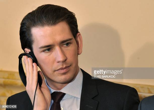 Austrian Minister of Foreign Affairs Sebastian Kurz listens to statement of Bosnia and Herzegovina's Minister of Civil Affairs during a press...