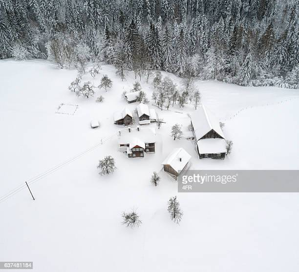 Austrian Mountain Village completely covered with Snow