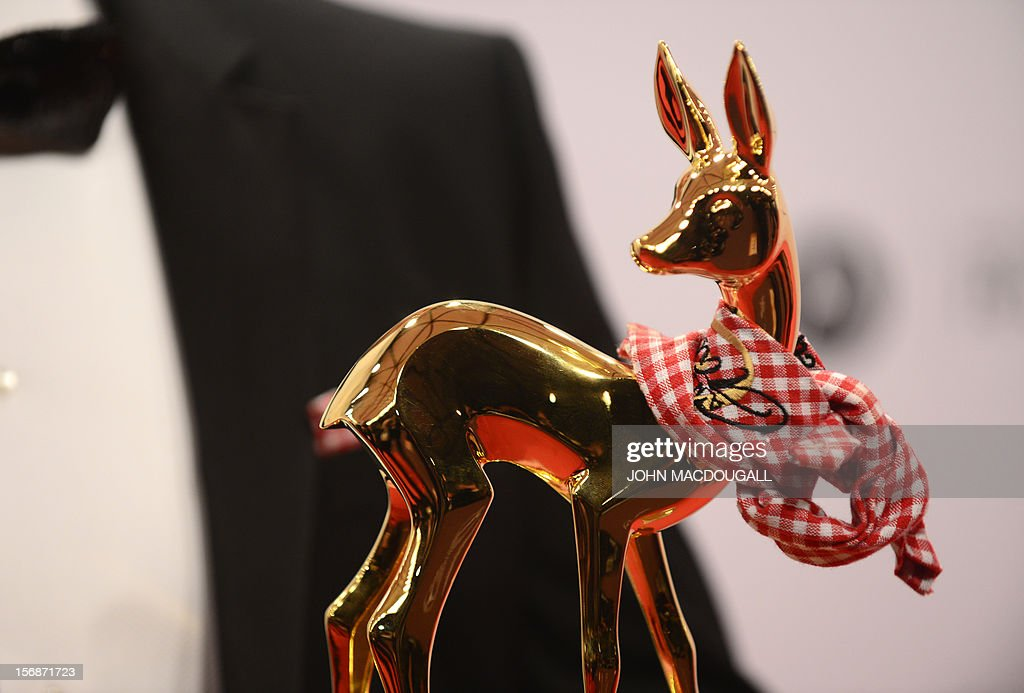 Austrian musician Andreas Gabalie poses with his Bambi at the Bambi awards in Duesseldorf, western Germany, on November 22, 2012. The Bambis are the main German media awards.