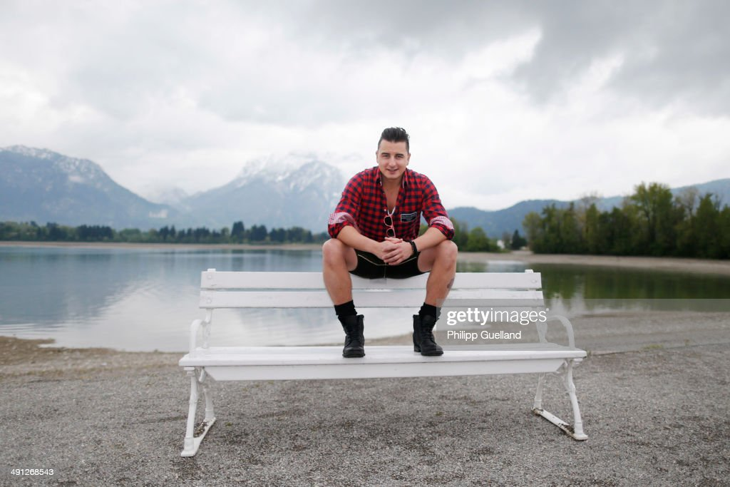 Austrian musician <a gi-track='captionPersonalityLinkClicked' href=/galleries/search?phrase=Andreas+Gabalier&family=editorial&specificpeople=8314066 ng-click='$event.stopPropagation()'>Andreas Gabalier</a> poses for portraits during the 'Gabalier - Die grosse Volks-Rock'n'Roll-Show' press get together on May 16, 2014 in Fuessen, Germany.