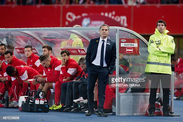 Austrian national football team's head coach Marcel Koller is pictured during the Euro 2016 qualifying Group G football match between Austria and...