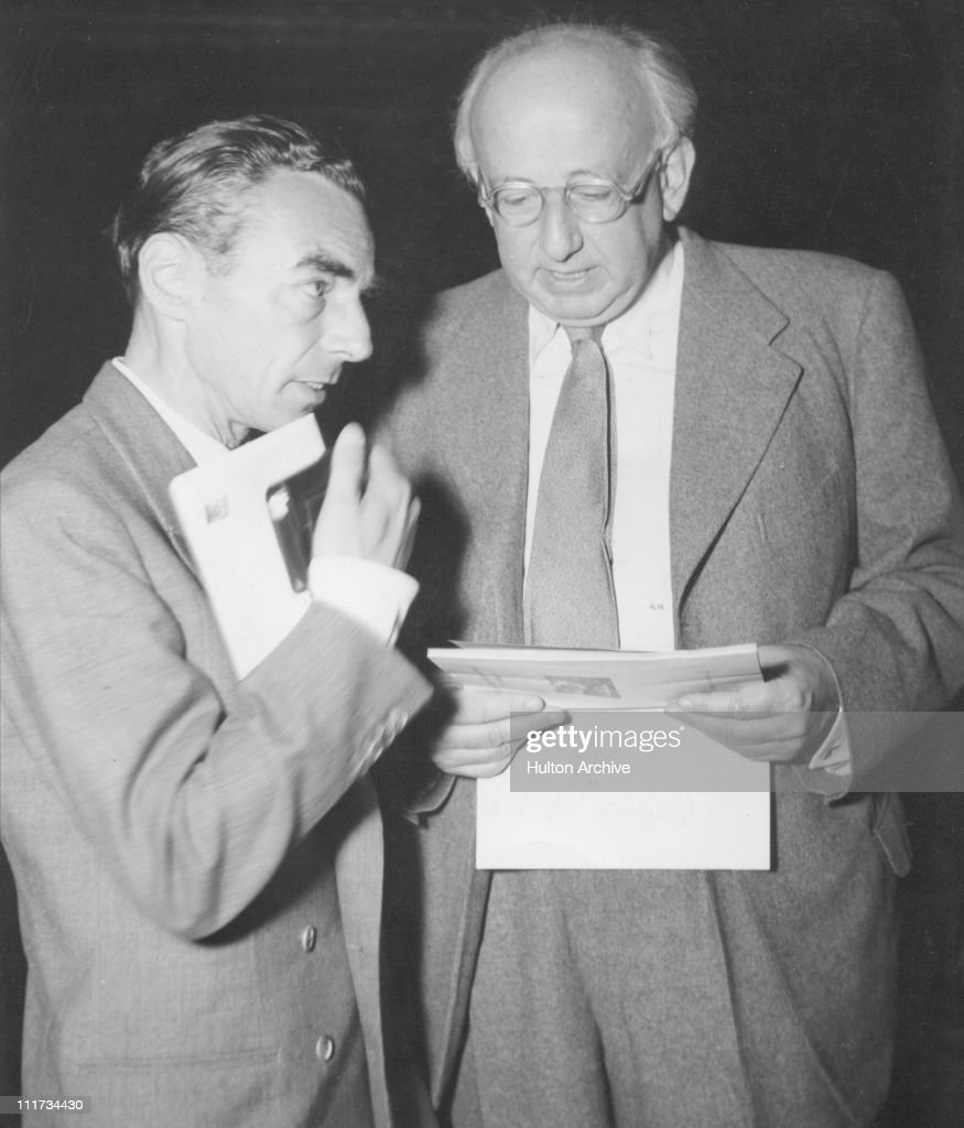Austrian novelist and author of 'Children of Vienna', Robert Neumann (b. 1897) with Erich Kaestner, German author of 'Emil and the Detectives', circa 1945.