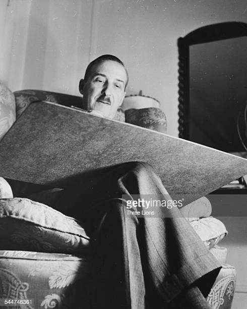Austrian novelist Stefan Zweig working on his manuscripts circa 1930