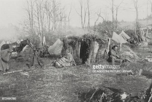 Austrian outposts on the AustroRussian fire line Carpathians World War I from L'Illustrazione Italiana Year XLII No 15 April 11 1915