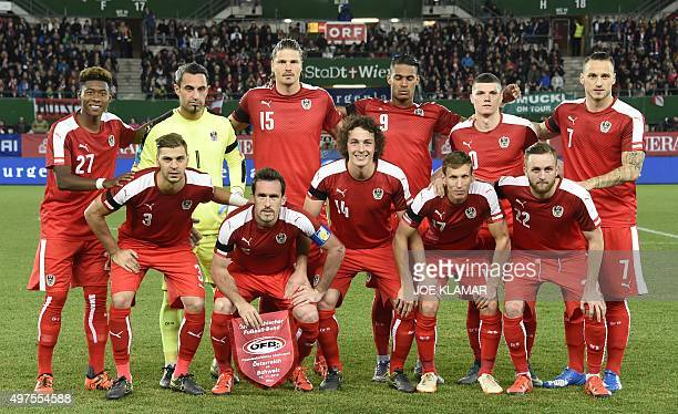 Austrian players pose for a family photo during the friendly football match between Austria and Switzerland at Ernst Happel stadium in Vienna Austria...