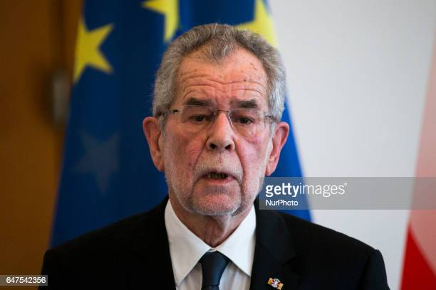 Austrian President Alexander van der Bellen is pictured during a press conference held with German President Joachim Gauck at the Bellevue...
