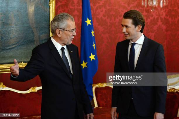 Austrian President Alexander Van der Bellen meets Austrian Foreign Minister and leader of the conservative Austrian People's Party Sebastian Kurz...