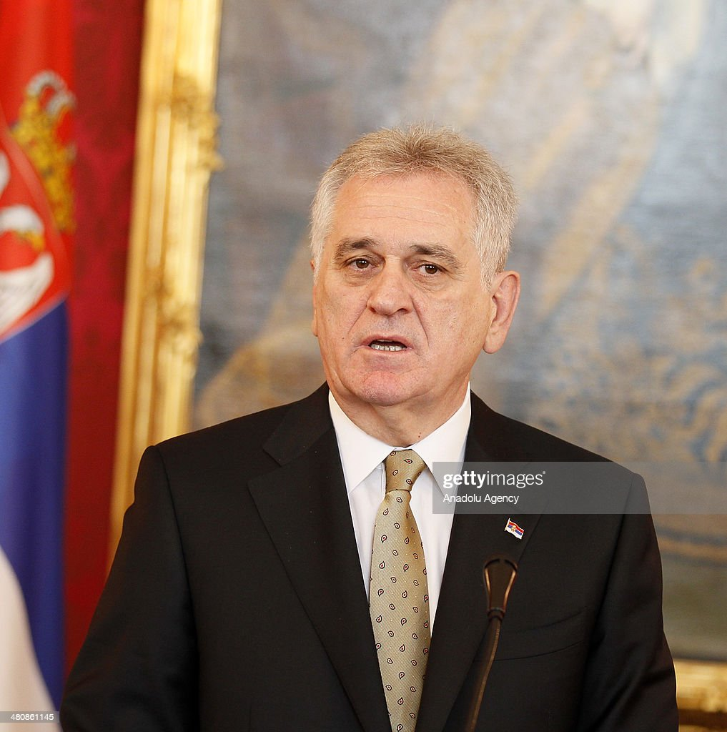 Austrian President Heinz Fischer (not seen) and President of Serbia Tomislov Nikolic attend a press conference following their meeting in Vienna, Austria on March 27, 2014.