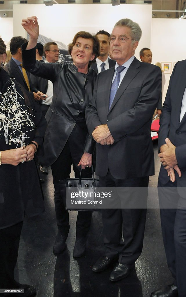 Austrian president <a gi-track='captionPersonalityLinkClicked' href=/galleries/search?phrase=Heinz+Fischer&family=editorial&specificpeople=537198 ng-click='$event.stopPropagation()'>Heinz Fischer</a> (R) arrives at Viennafair 2014 at Messe Wien on October 1, 2014 in Vienna, Austria.