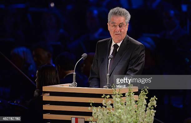 Austrian President Heinz Fischer attends the Salzburg Festival 2014 opening ceremony on July 27 2014 in Salzburg Austria