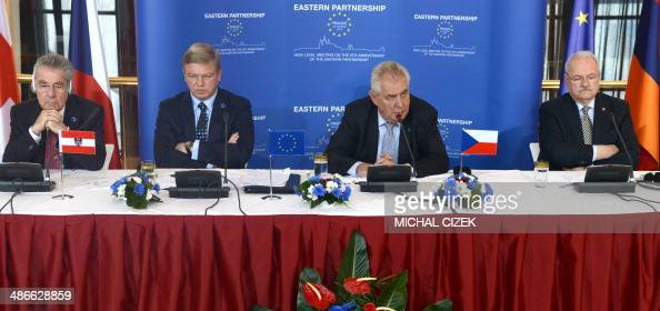 Austrian President Heinz Fischer Czech European Commissioner for Enlargement and European Neighbourhood Policy Stefan Fule Czech president Milos...