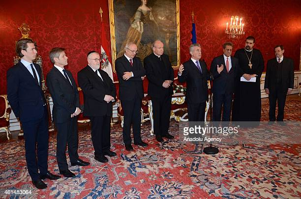 Austrian President Heinz Fischer holds a press conference after meeting religious leaders in Vienna Austria on January 132015