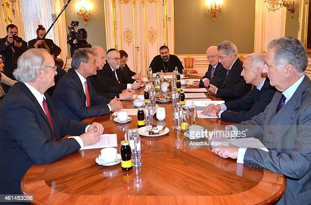 Austrian President Heinz Fischer meets religious leaders in Vienna Austria on January 132015
