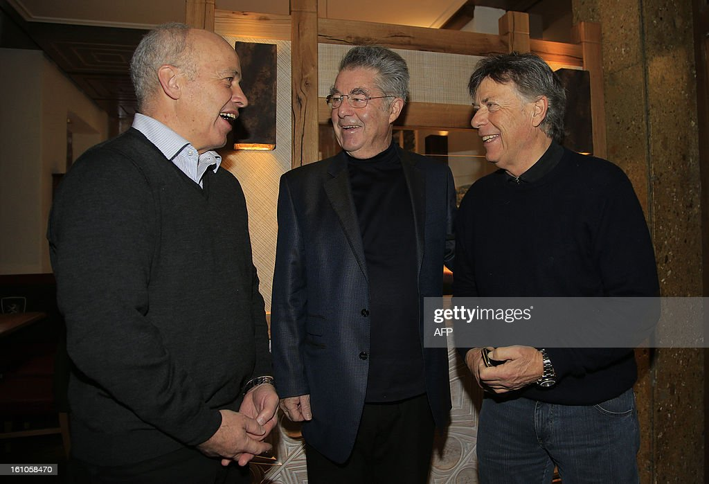 Austrian President Heinz Fischer (C) meets with President of Switzerland Ueli Maurer (L) and Austrian ski federation chief and president of the European Ski Federation (ESF) Peter Schroecksnadel (R) as part of the 2013 Ski Word Championships, in Schladming, Austria, on February 9, 2013.