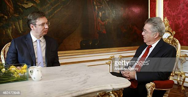Austrian President Heinz Fischer meets with Serbian Prime Minister Aleksandar Vucic in Vienna Austria on January 29 2015