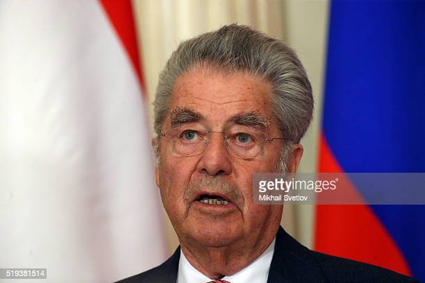 Austrian President Heinz Fischer speaks during a meeting at the Kremlin on April 6 2016 in Moscow Russia The Austrian president is visiting the...