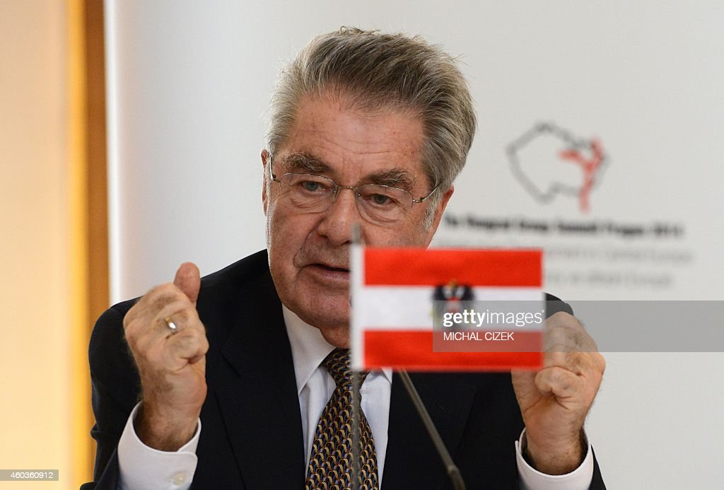Austrian President <a gi-track='captionPersonalityLinkClicked' href=/galleries/search?phrase=Heinz+Fischer&family=editorial&specificpeople=537198 ng-click='$event.stopPropagation()'>Heinz Fischer</a> speaks during the press conference following the meeting of the V4 Visegrad Group plus Austria and Slovenia leaders on December 12, 2014 in Prague.
