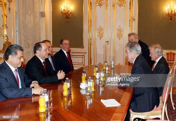 Austrian President Heinz Fischer welcomes Iraqi Kurdistan Regional Government President Masoud Barzani on January 17 2014 in Vienna Austria