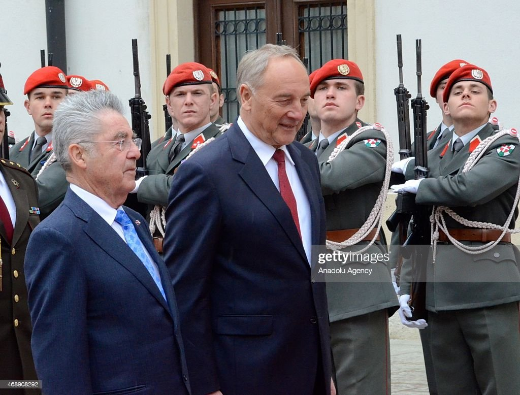 Austrian President <a gi-track='captionPersonalityLinkClicked' href=/galleries/search?phrase=Heinz+Fischer&family=editorial&specificpeople=537198 ng-click='$event.stopPropagation()'>Heinz Fischer</a> (L) welcomes Latvian President Andris Berzins (R) with an official ceremony in Vienna, Austria on April 8, 2015.