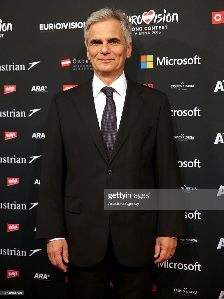 Austrian Prime Minister Werner Faymann attends the final of the 60th Eurovision Song Contest held in the Vienna Stadthalle in Vienna Austria on May...