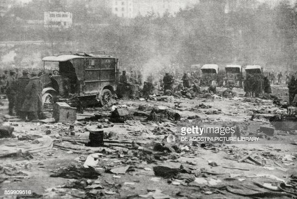 Austrian prisoners and material abandoned by the fleeing enemy Piazza d'Armi in Trento Italy World War I from l'Illustrazione Italiana Year XLV No 46...