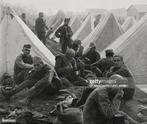 Austrian prisoners eating their first rations after being captured Gorizia Italy World War I from L'Illustrazione Italiana Year XLIV No 26 July 1 1917