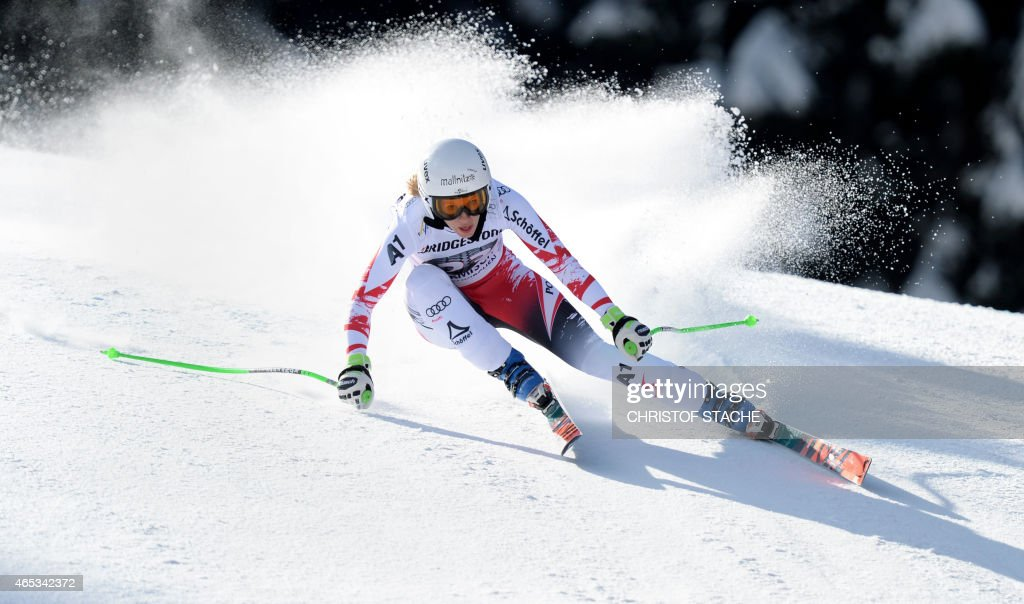 Austrian <a gi-track='captionPersonalityLinkClicked' href=/galleries/search?phrase=Regina+Sterz&family=editorial&specificpeople=10018281 ng-click='$event.stopPropagation()'>Regina Sterz</a> competes in the women's downhill training's competition of the FIS alpine ski world cup in Garmisch-Partenkirchen, southern Germany, on March 6, 2015.