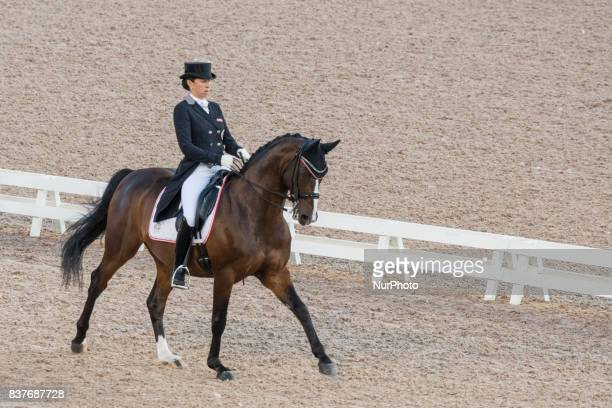 Austrian rider Astrid Neumayer on DSP Rodriguez rides in the team dressage competition of the 2017 FEI European Championships at Ullevi Stadium in...