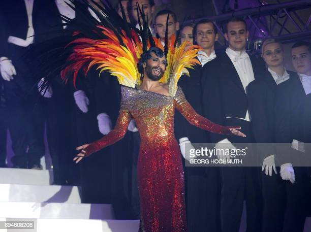 Austrian singer and drag queen Conchita Wurst perforems during the 24th Life Ball at the Rathausplatz in Vienna on 10 June 2017 Life Ball is Europe's...