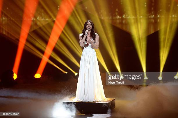 Austrian singer and Eurovision Song Contest 2014 winner Conchita Wurst performs during the finals of the TV show 'Our Star For Austria' on March 5...