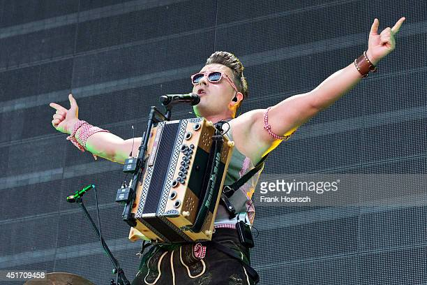 Austrian singer Andreas Gabalier performs live during a concert at the Waldbuehne on July 4 2014 in Berlin Germany