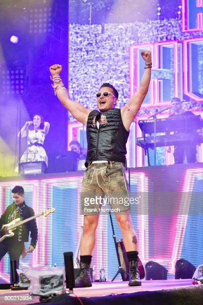 Austrian singer Andreas Gabalier performs live on stage during a concert at the Waldbuehne on June 23 2017 in Berlin Germany