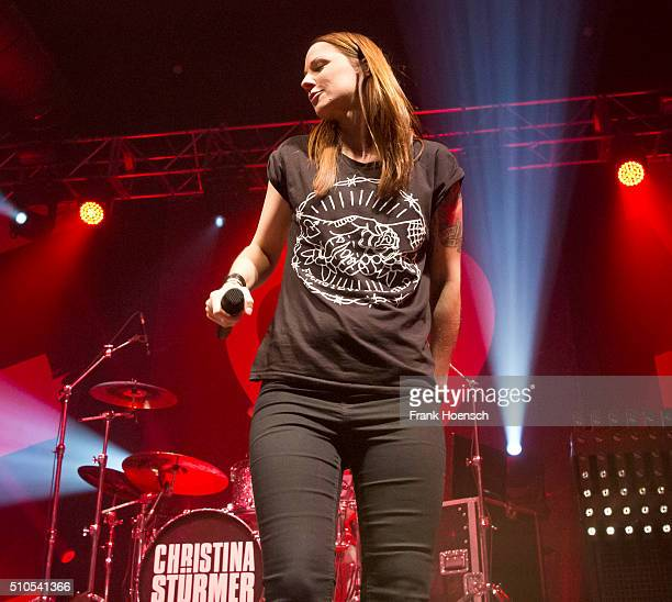 Austrian singer Christina Stuermer performs live during a concert at the Huxleys on February 15 2016 in Berlin Germany